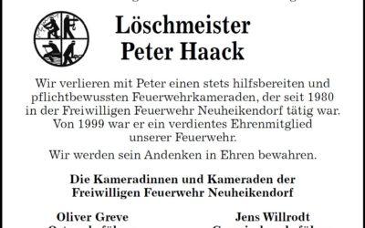 Wir gedenken an Löschmeister Peter Haack