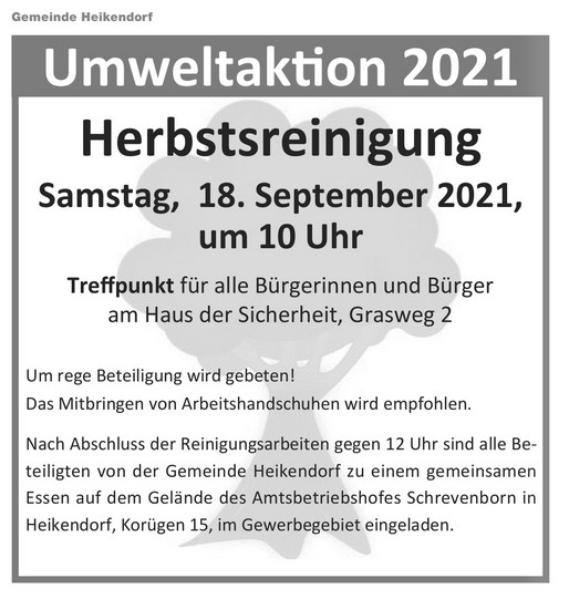 Veranstaltungshinweis: Umweltaktion 2021